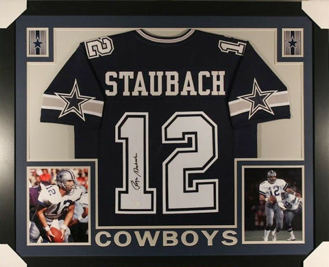 Roger Staubach Signed Cowboys 35x43 Custom Framed Jersey (JSA) Super Bowl VI MVP