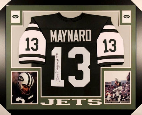 "Don Maynard Signed Jets 35x43 Custom Framed Jersey Inscribed ""HOF 87""(JSA COA)"