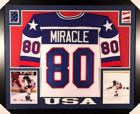 "Mike Eruzione Signed 1980 Miracle On Ice #80 35"" x 43"" Framed Jersey (JSA COA)"