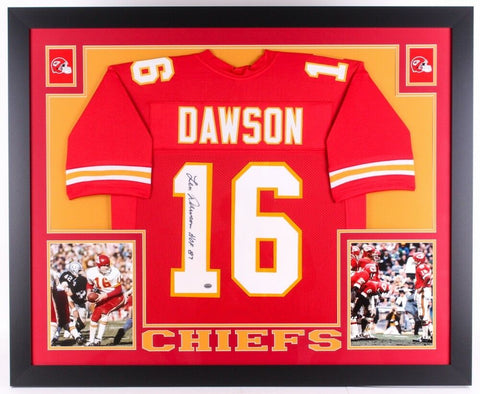 "Len Dawson Signed Chiefs 35"" x 43"" Custom Framed Jersey Inscribed ""HOF 87"" GTSM"