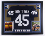 Rudy Ruettiger Signed Notre Dame Fighting Irish 35x43 Custom Framed Jersey (JSA)