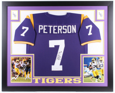 "Patrick Peterson Signed LSU Tigers 43"" x 35"" Custom Framed Jersey (JSA Holo)"