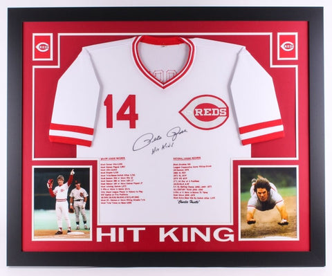 "Pete Rose Signed Reds 35x43 Custom Framed Career Highlight Stat Jersey""Hit King"""