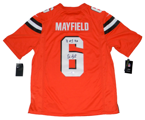 BAKER MAYFIELD SIGNED CLEVELAND BROWNS #6 ORANGE NIKE LIMITED JERSEY W/ #1 PICK