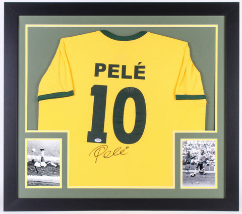 Pele Signed Brazil 31x35 Custom Framed Jersey (PSA COA) Soccer's All Time Great