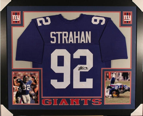 Michael Strahan Signed Giants 35x43 Custom Framed Jersey Super Bowl XLII champ