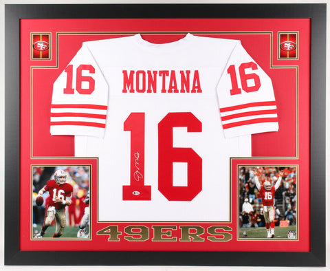 Joe Montana Signed San Francisco 49ers 35x43 Custom Framed Jersey (Beckett COA)