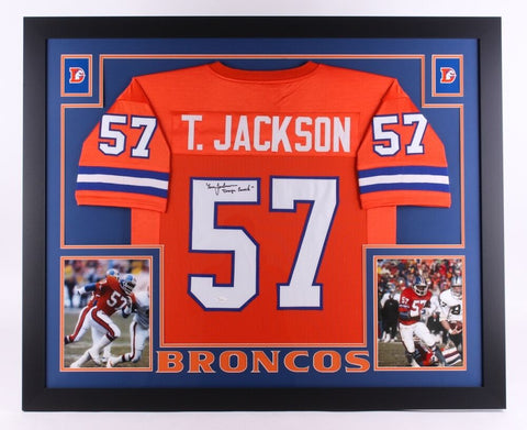 "Tom Jackson Signed Broncos 35""x43"" Custom Framed Jersey Inscribed ""Orange Crush"""