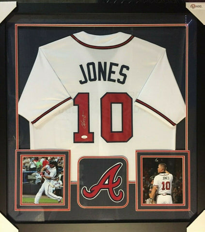 "Chipper Jones Signed Atlanta Braves 36""x 39"" Framed Signed Jersey (JSA COA)"
