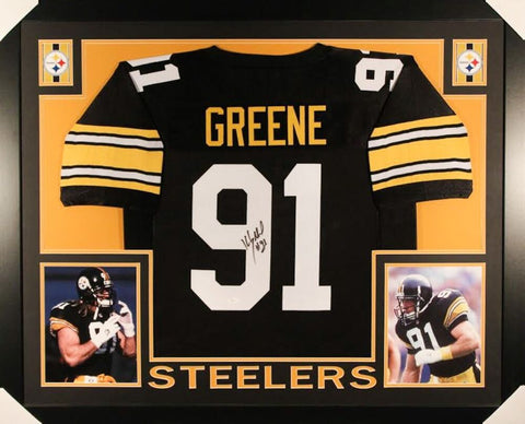 Kevin Greene Signed Pittsburgh Steelers 35x43 Custom Framed Jersey (JSA COA)