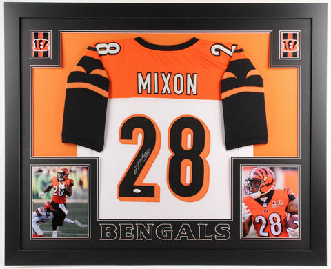 Joe Mixon Signed Cincinnati Bengals 35x43 Custom Framed Jersey (JSA Hologram)