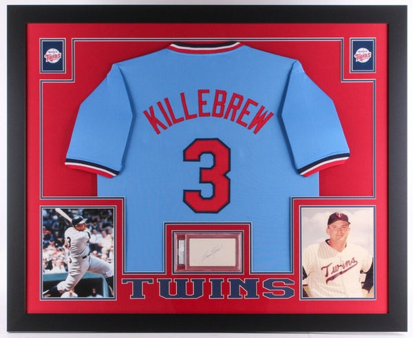 Harmon Killebrew Signed Twins 35x43 Framed Display / Jersey & Signed Cut PSA/DNA