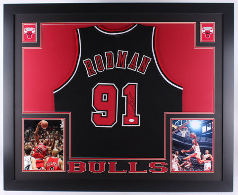 "Dennis Rodman Signed Chicago Bulls 35"" x 43""Custom Framed Black Jersey (JSA COA)"