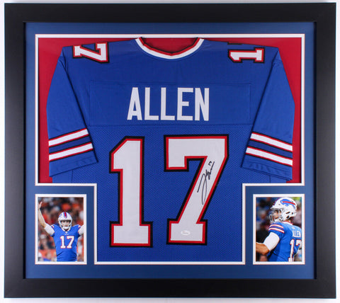 Josh Allen Signed Buffalo Bills 31x35 Custom Framed Jersey (JSA COA) Rookie QB