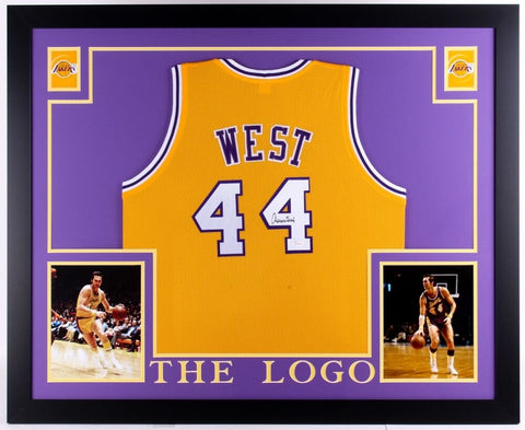 "Jerry West Signed Lakers 35"" x 43"" Custom Framed Jersey (JSA) Career 1960-1974"