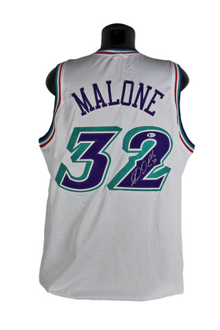 Karl Malone Authentic Signed Utah Jazz White Jersey BAS Witnessed