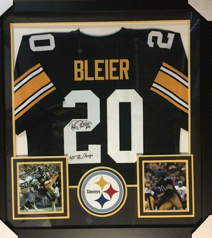 "Rocky Bleier Signed Pittsburgh Steelers 36""x39"" Framed Jersey (JSA COA) War Vet"