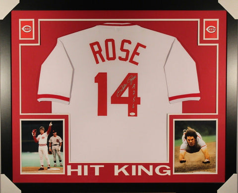 PETE ROSE AUTOGRAPHED FRAMED AND MATTED REDS JERSEY MLB's ALL TIME HIT KING