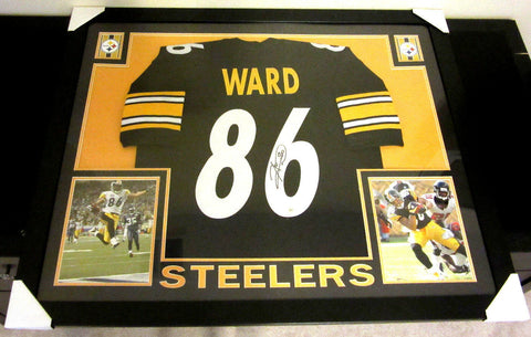 "Hines Ward Signed Pittsburgh Steelers 35"" x 43"" Custom Framed Jersey (JSA COA)"