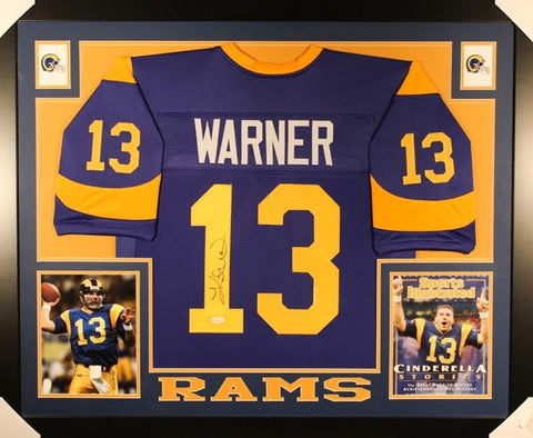 Kurt Warner Signed St. Louis Rams 35x43 Framed Jersey (JSA COA) Super Bowl MVP