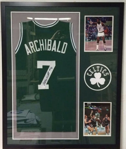 "Nate Archibald Signed Celtics 34x42 Custom Framed Jersey Inscribed ""HOF 91"" JSA"