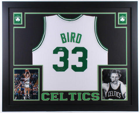 Larry Bird Signed Boston Celtics 35x43 Custom Framed White Jersey (Beckett COA)
