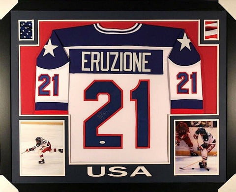 "Mike Eruzione Signed Team USA ""Miracle on Ice"" 35""x43"" Custom Framed Jersey JSA"