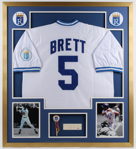George Brett Signed Royals 34x38 Custom Framed Cut Display / Jersey & Pin (PSA)
