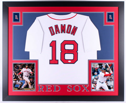 "Johnny Damon Signed Red Sox ""35x45"" Custom Framed Jersey (JSA) 2004 Series Champ"