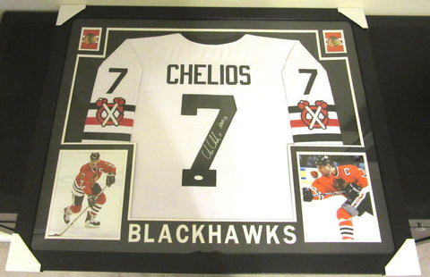 Chris Chelios Signed Blackhawks 35x43 Custom Framed White Jersey (JSA COA)
