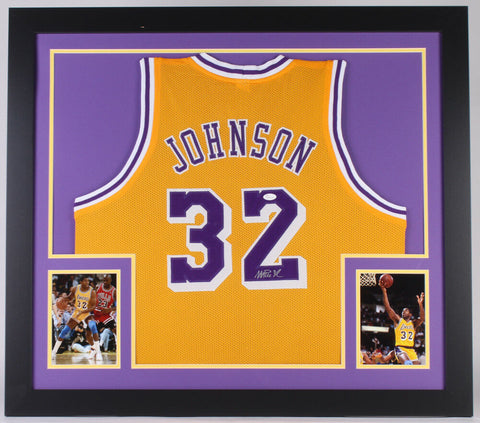 Magic Johnson Signed Los Angeles Lakers 31x35 Custom Framed Jersey JSA Hologram
