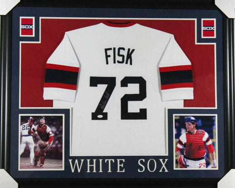 "Carlton Fisk Signed Chicago White Sox 35""x 43"" Custom Framed Jersey (JSA COA)"