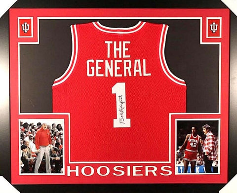 BOBBY KNIGHT / THE GENERAL AUTOGRAPHED FRAMED / MATTED INDIANA HOOSIERS JERSEY