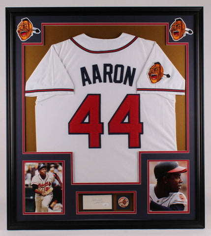 "Hank Aaron Signed Braves 32x36 Framed Cut Display Inscribd ""Best Wishes"" JSA COA"