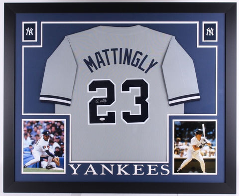 "Don Mattingly Signed Yankees 35"" x 43"" Custom Framed Jersey (JSA) 6x All Star"