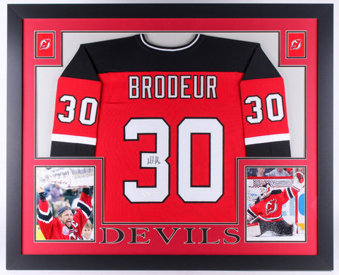 Martin Brodeur Signed Devils 35x43 Custom Framed Jersey (JSA) Played 1991-2015
