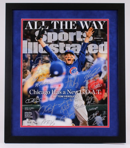 CHICAGO CUBS Team Signed World Series Framed SI 16x20 Photograph FANATICS LE 100
