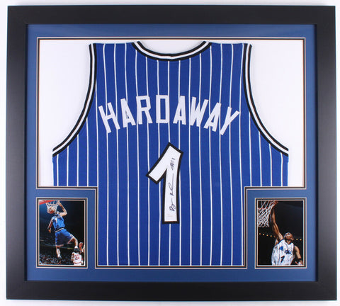 Penny Hardaway Signed Orlando Magic 31 x 35 Custom Framed Jersey (JSA COA)