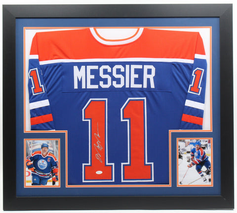 Mark Messier Signed Edmonton Oilers 31x35 Custom Framed Jersey (JSA COA)
