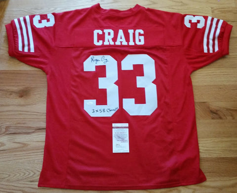 Roger Craig Autographed/Signed San Francisco 49ers Jersey w/ 3 time insc JSA COA