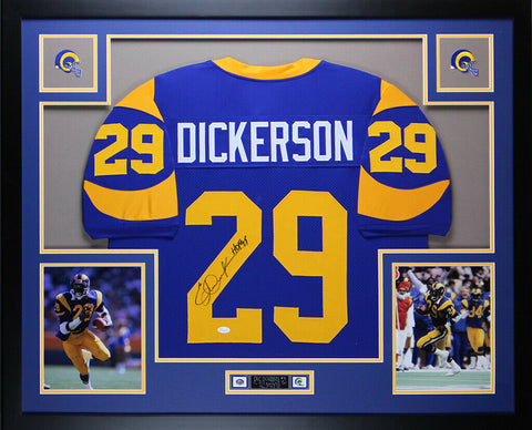 Eric Dickerson Autographed HOF 99 and Framed Blue Rams Jersey Auto JSA COA D2-L