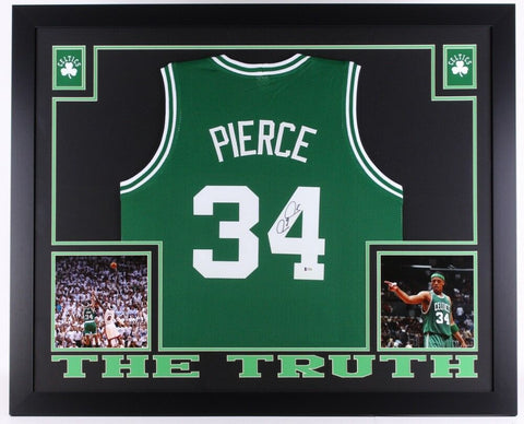 "Paul Pierce Signed Celtics 35"" x 43"" Custom Framed Jersey (Beckett) ""The Truth"""