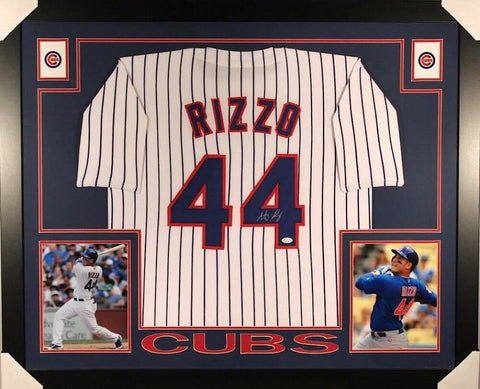 Anthony Rizzo Signed Cubs 35x43 Custom Framed Pinstripped Jersey (JSA COA)
