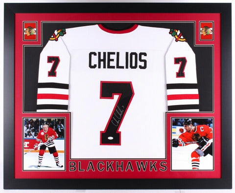Chris Chelios Signed Chicago Blackhawks 35x43 Custom Framed Jersey (JSA COA)