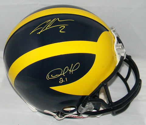 Desmond Howard and Charles Woodson Signed Michigan Wolverines Proline Authentic NCAA Helmet JSA