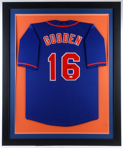 Dwight Gooden Signed New York Mets 35x43 Custom Framed Jersey (JSA Hologram)