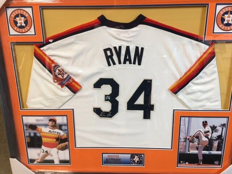 "Nolan Ryan Signed Houston Astros 35x43 Custom Framed Jersey / All Time ""K"" King"