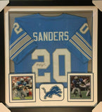 "Barry Sanders Signed Detroit Lions 36"" x 39"" Framed Jersey / 10xPro Bowl R.B."