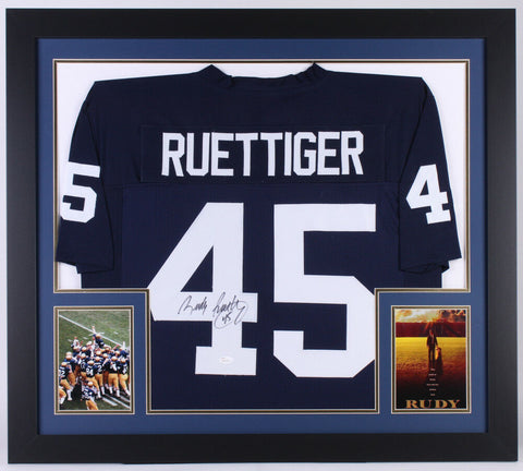 Rudy Ruettiger Signed Notre Dame Fighting Irish 31x35 Custom Framed Jersey (JSA