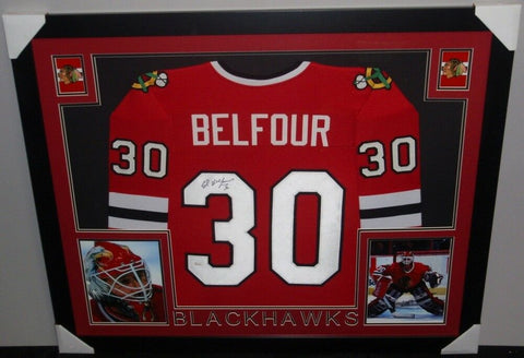 Ed Belfour Signed Chicago Blackhawks 35x43 Custom Framed Red Jersey (JSA COA)